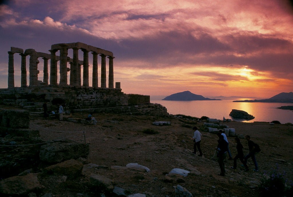 Athens sunset at cape Sounio